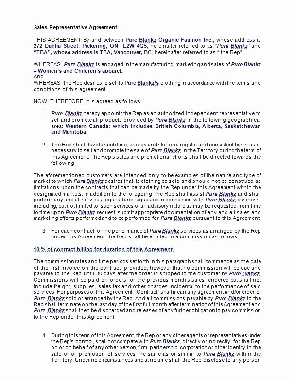 Sales Rep Agreement Template Awesome Sales Representative Agreement Template – Verbe