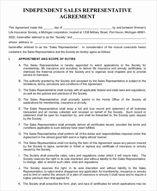 Sales Rep Agreement Template Best Of Independent Contractor Agreement 15 Free Sample