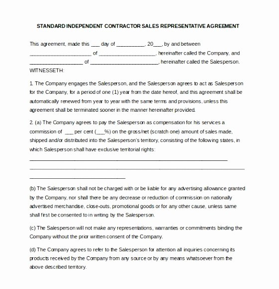 Sales Rep Agreement Template Fresh 9 Sales Rep Contract Template Uuwyt