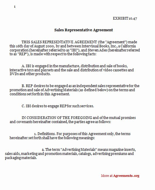 Sales Rep Agreement Template Lovely Sales Representative Agreement Sample Sales Representative