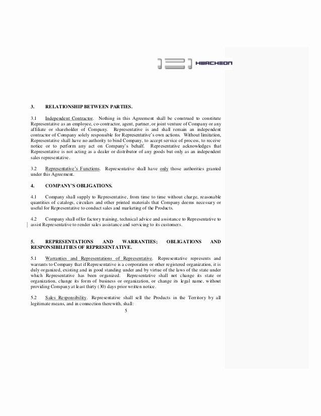 contract sales representative agreement