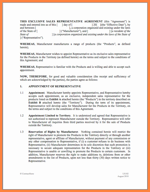 Sales Rep Agreement Template New 7 Independent Sales Rep Agreement Template