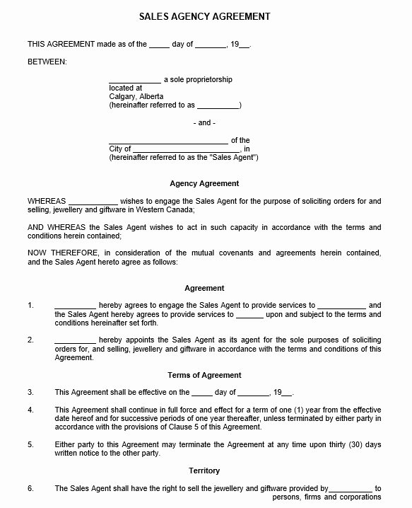 Sales Representation Agreement Template Beautiful 9 Free Sample Sales Representative Agreement Templates