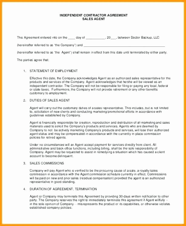 Sales Representation Agreement Template Elegant Representation Agreement Template
