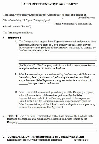 Sales Representation Agreement Template Fresh Download Sales Rep Contract Template – Free Template Design