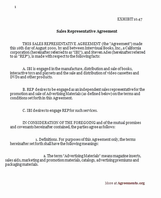 Sales Representation Agreement Template Fresh Printable Independent Sales Rep Contract Template – Free