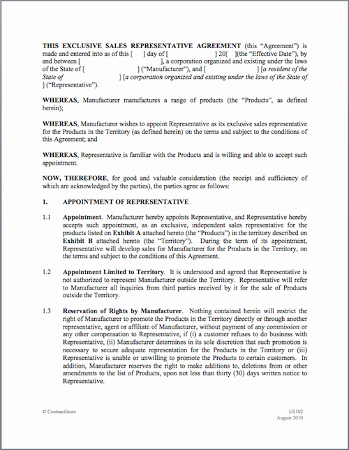 Sales Representation Agreement Template Inspirational Sales Representative Agreement