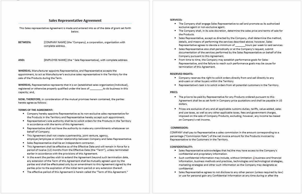 Sales Representation Agreement Template Luxury Sales Representative Agreement Template Microsoft Word