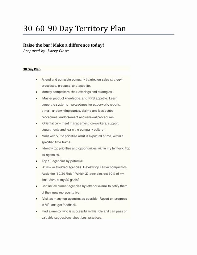 Sales Territory Plan Template Awesome Larry S 30 60 90 Day Territory Plan