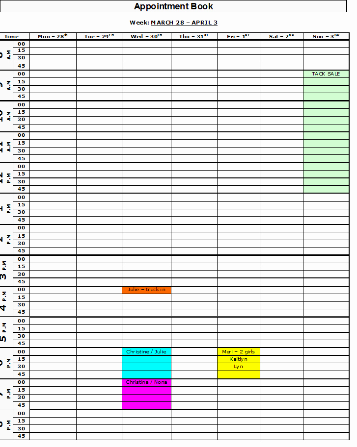 Salon Appointment Book Template Elegant Free Printable Appointment Book organize Me