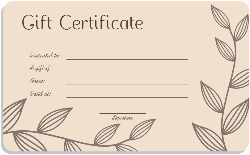 Salon Gift Certificate Template Lovely Leaf Branches Art Gift Certificate Template