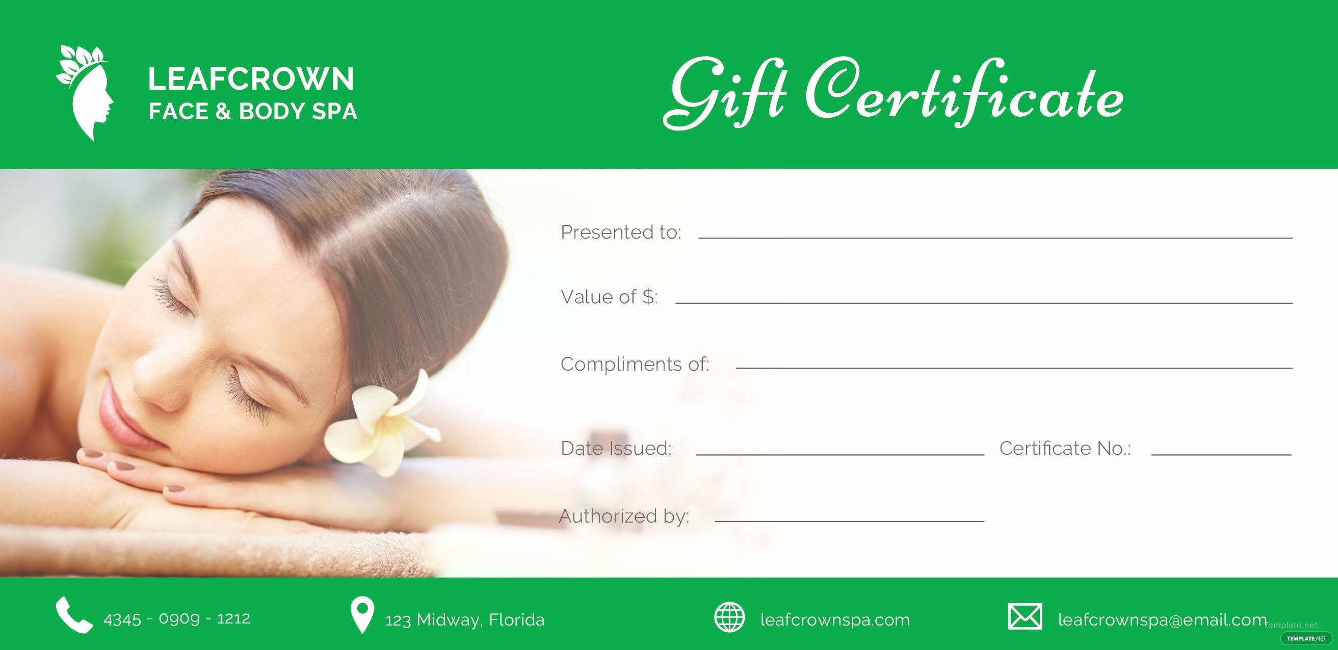 Salon Gift Certificate Template New Free Spa Gift Certificate Template In Adobe Illustrator