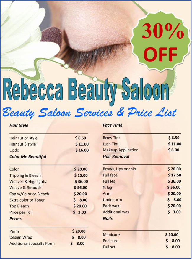 Salon Price List Template Best Of Price List Template 6 Price Lists for Word and Excel