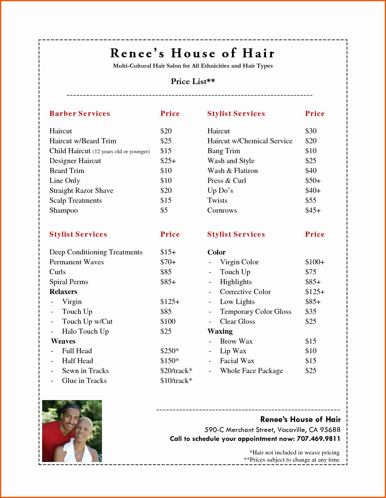 Salon Price List Template Elegant Pin Hairdressing Price List Template On Pinterest