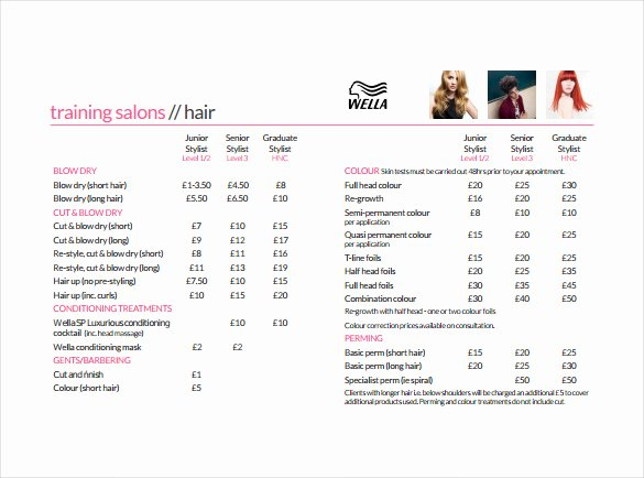 Salon Price List Template Inspirational Price Sheet Templates 12 Free Excel Word Documents