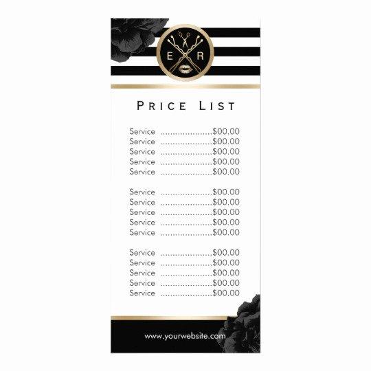 Salon Price List Template New Beauty Salon Black Floral Modern Stripe Price List Rack
