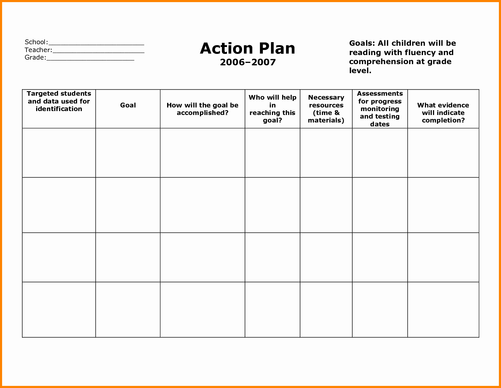 Sample Action Plan Template Elegant Stunning General Action Plan Template Word Examples Thogati