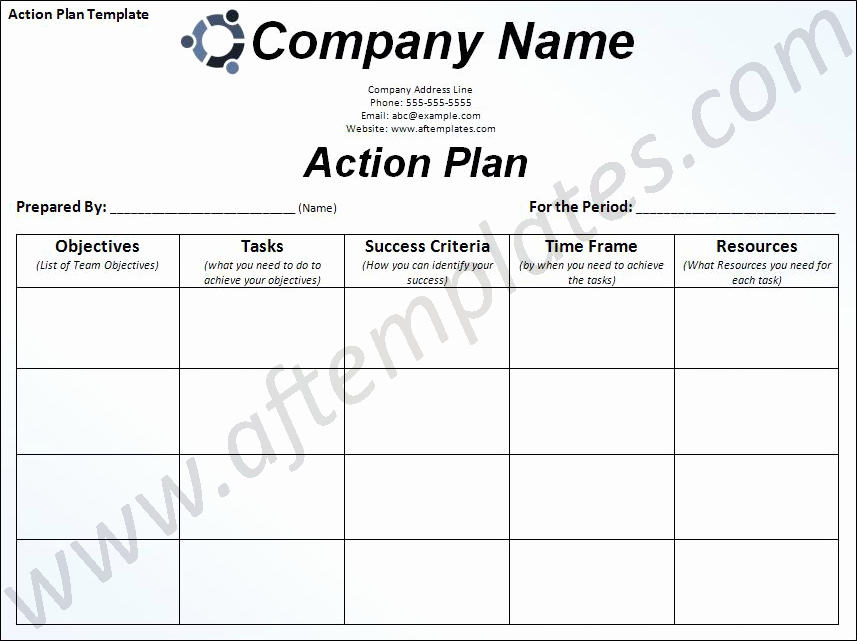 Sample Action Plan Template Inspirational Free Business Action Plan Template
