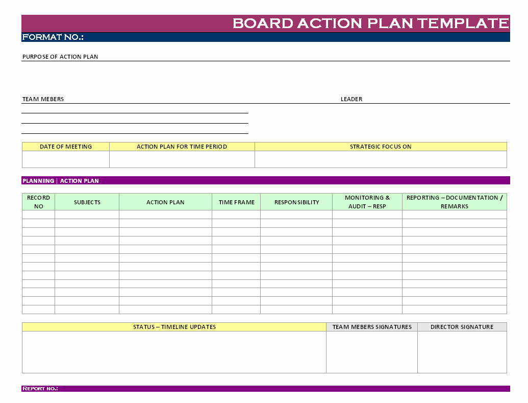 Sample Action Plan Template Inspirational Stunning General Action Plan Template Word Examples Thogati