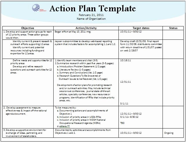 Sample Action Plan Template New Stunning Action Plan Template Sample with Pany Logo and