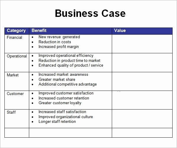 Sample Business Case Template New Business Case Template Make It Simple to Do Business