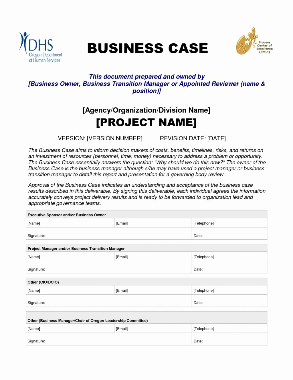 Sample Business Case Template New Business Case Template