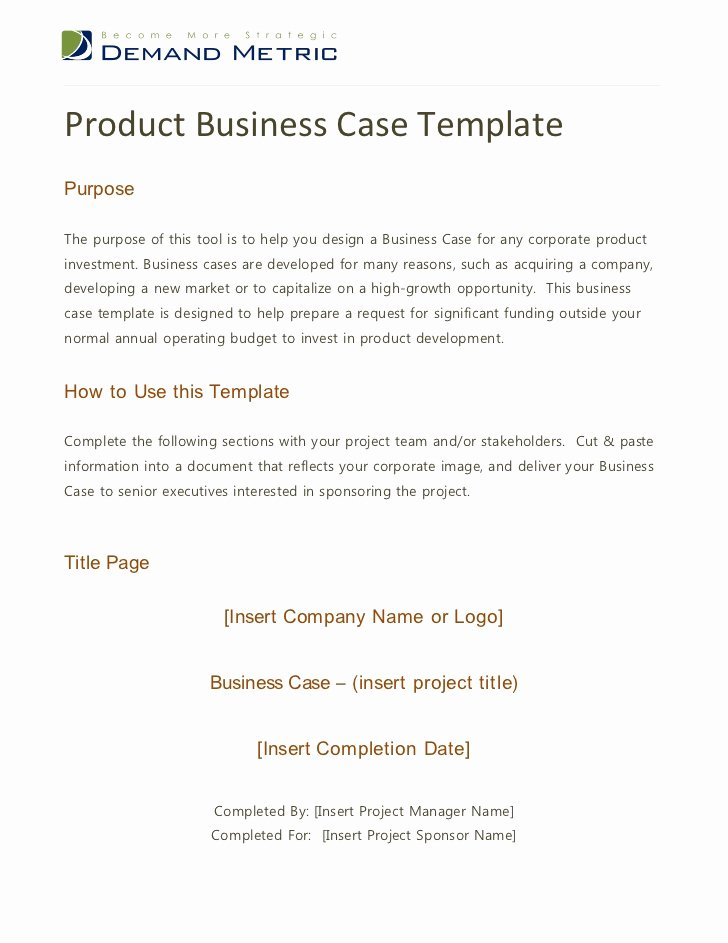 Sample Business Case Template Unique Product Business Case Template
