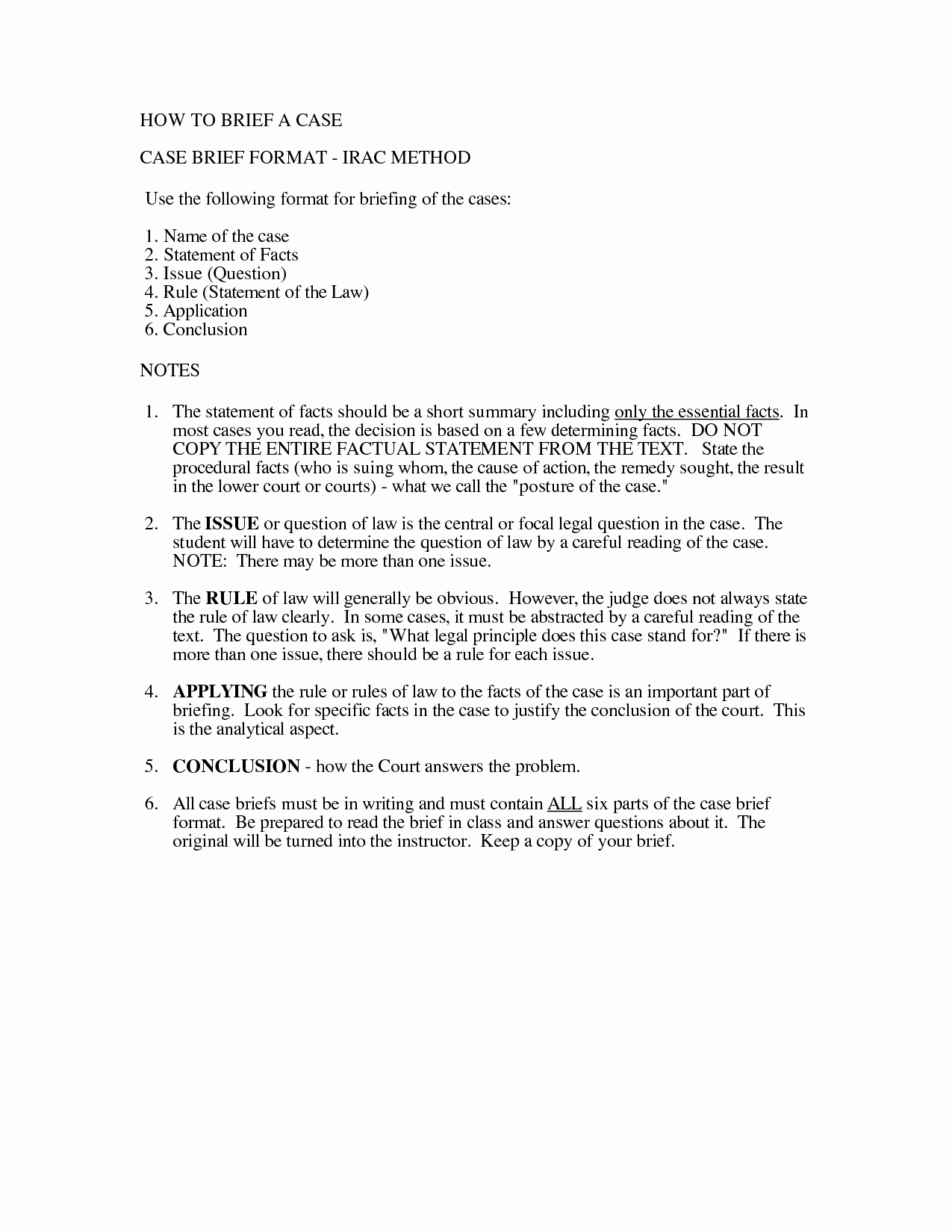 Sample Case Brief Template Awesome Irac format Example Paralegal Information