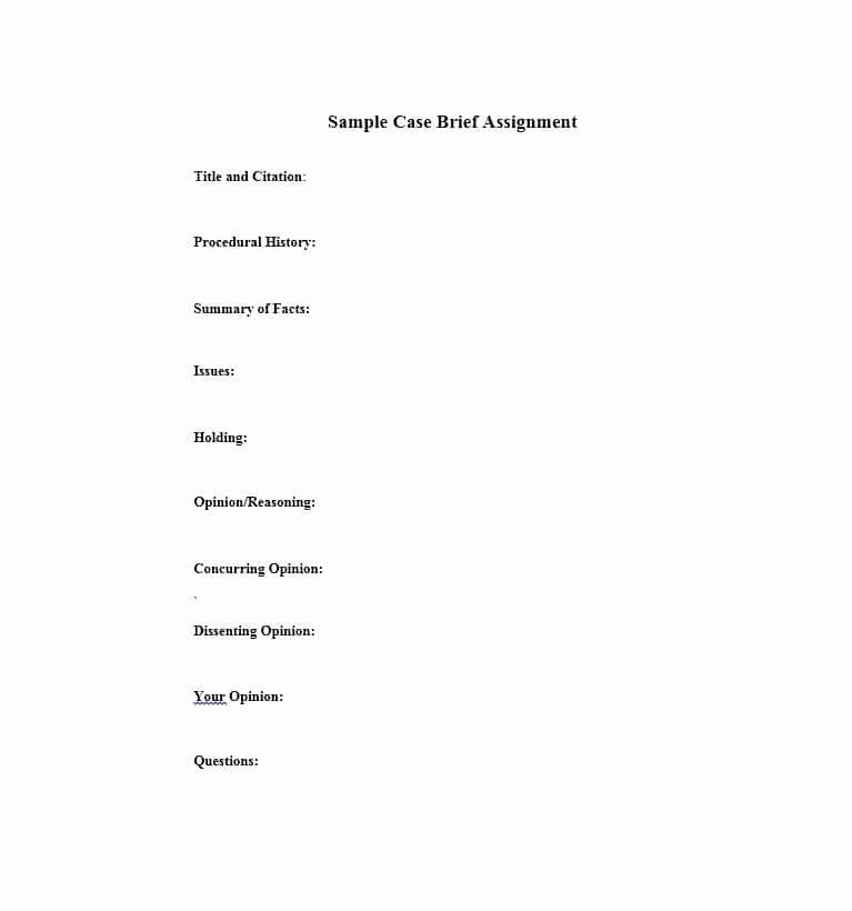 Sample Case Brief Template Elegant 40 Case Brief Examples & Templates Template Lab