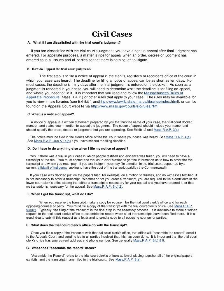 Sample Case Brief Template Elegant Mass Court Of Appeals Website Info