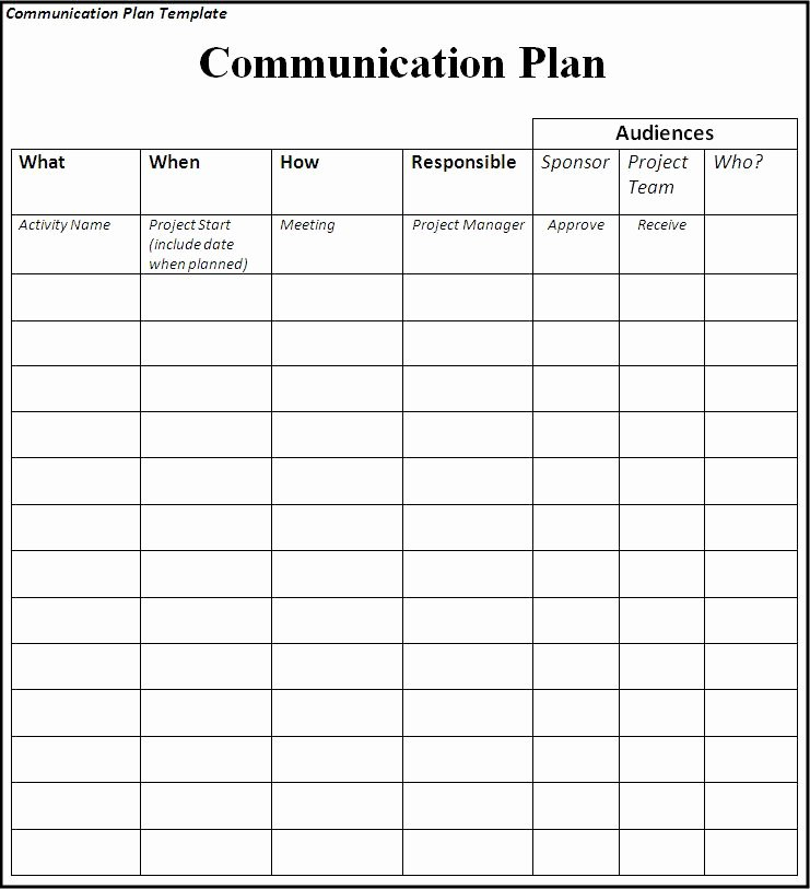 Sample Communication Plan Template Best Of Munications Plan Template
