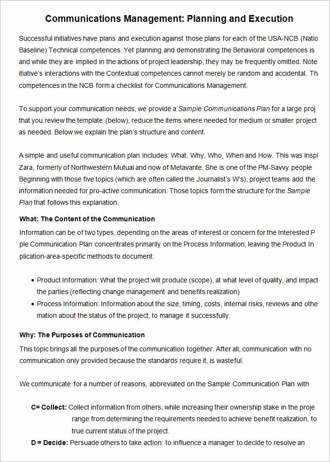 Sample Communication Plan Template Unique 10 Project Management Munication Plan Templates