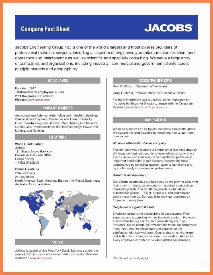 Sample Fact Sheet Template Elegant 8 Pany Fact Sheet Template