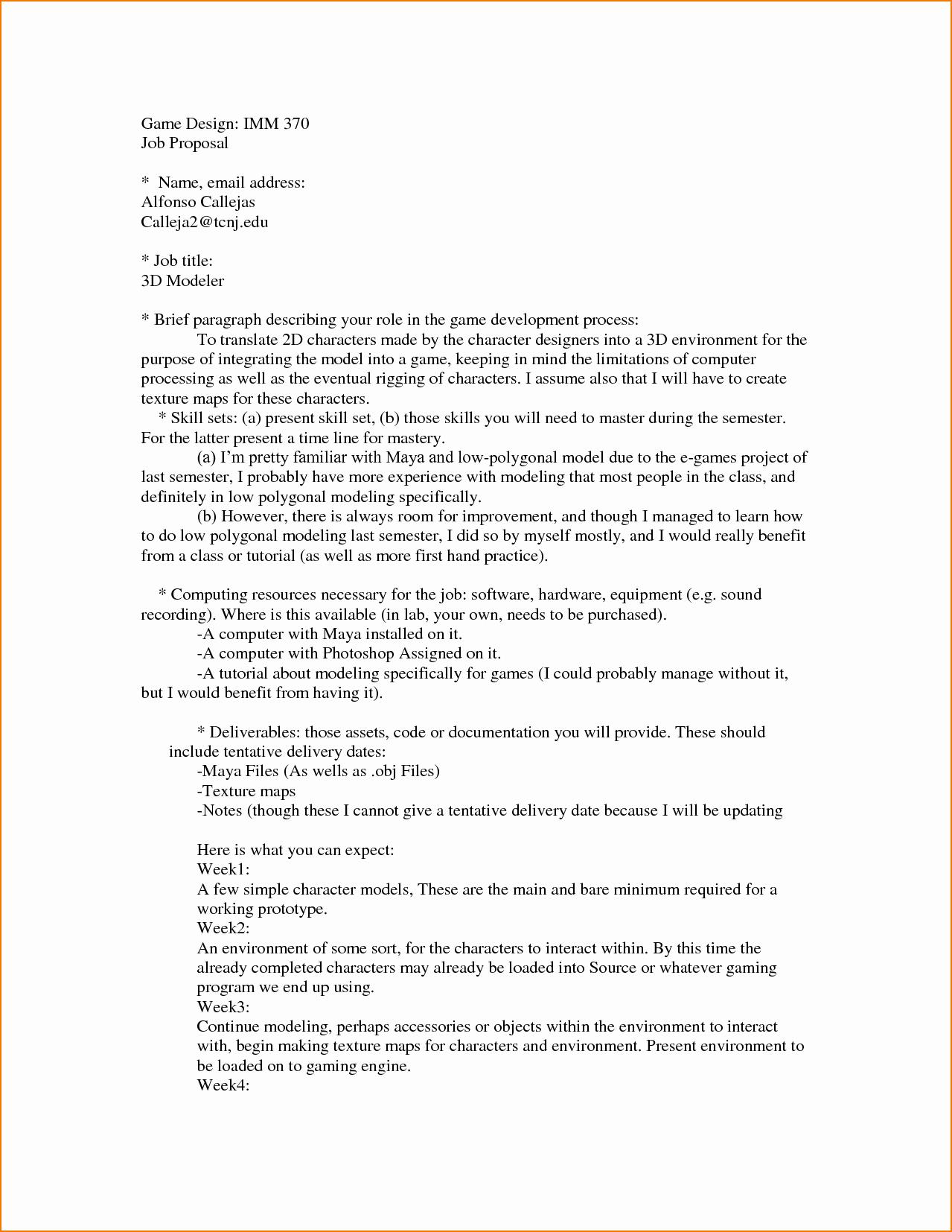 Sample Job Proposal Template Fresh 4 Job Proposal Sample