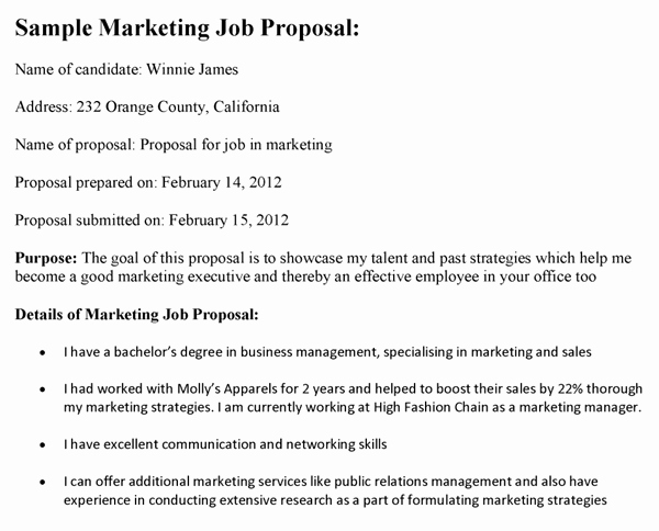 Sample Job Proposal Template Fresh Manager Job Proposal Template