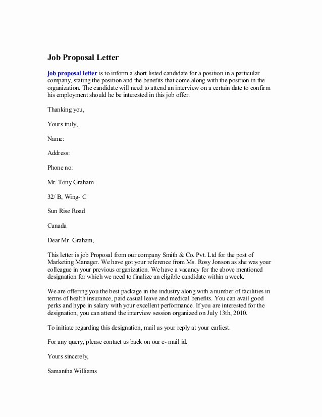 Sample Job Proposal Template Unique Job Proposal Letter