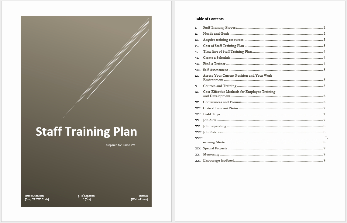 Sample Training Plan Template Best Of Staff Training Plan Template – Microsoft Word Templates