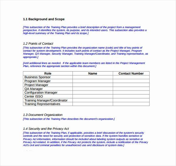 Sample Training Plan Template Elegant Sample Training Plan 12 Example format