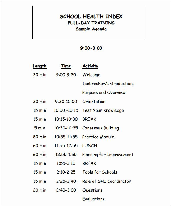 Sample Training Plan Template New Training Agenda Template 7 Free Download for Pdf