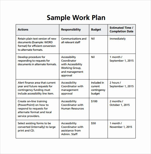 Sample Work Plan Template Beautiful Work Plan Template 17 Download Free Documents for Word