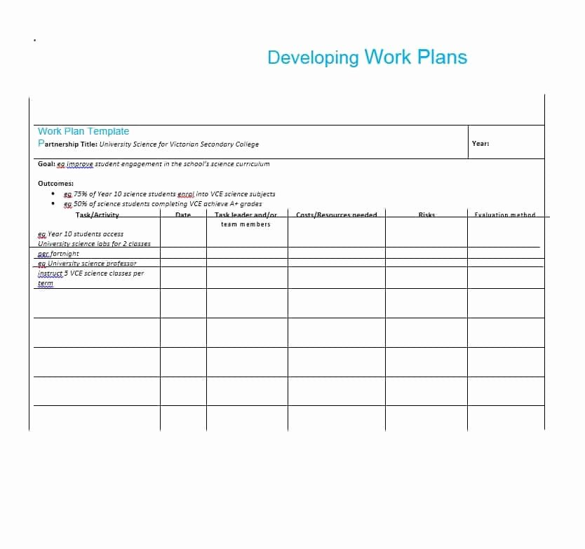 Sample Work Plan Template Inspirational Work Plan 40 Great Templates & Samples Excel Word