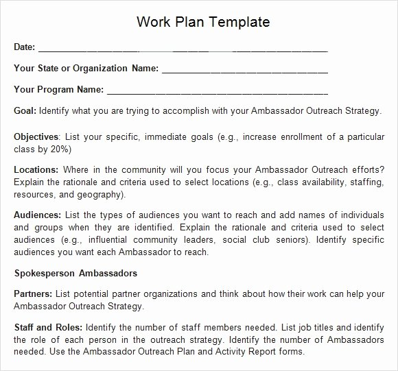 Sample Work Plan Template Inspirational Work Plan Template 17 Download Free Documents for Word