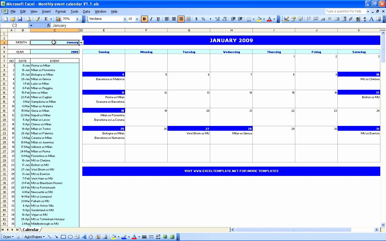 Schedule Of events Template Best Of Excel Monthly Calendar Template