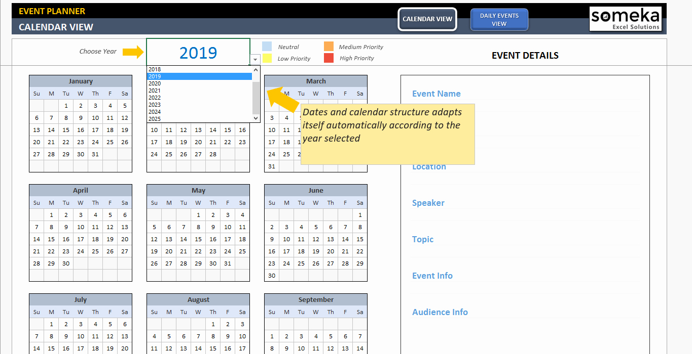Schedule Of events Template Inspirational Dynamic event Calendar Interactive Excel Tempate
