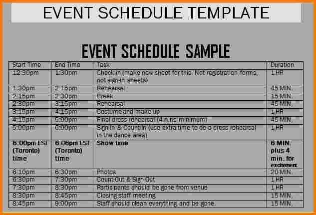 Schedule Of events Template Inspirational Schedule Of events Template