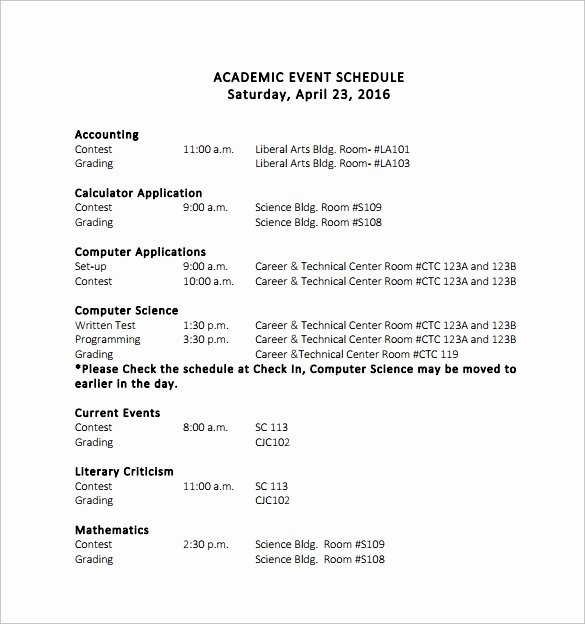 Schedule Of events Template New 14 event Schedule Templates