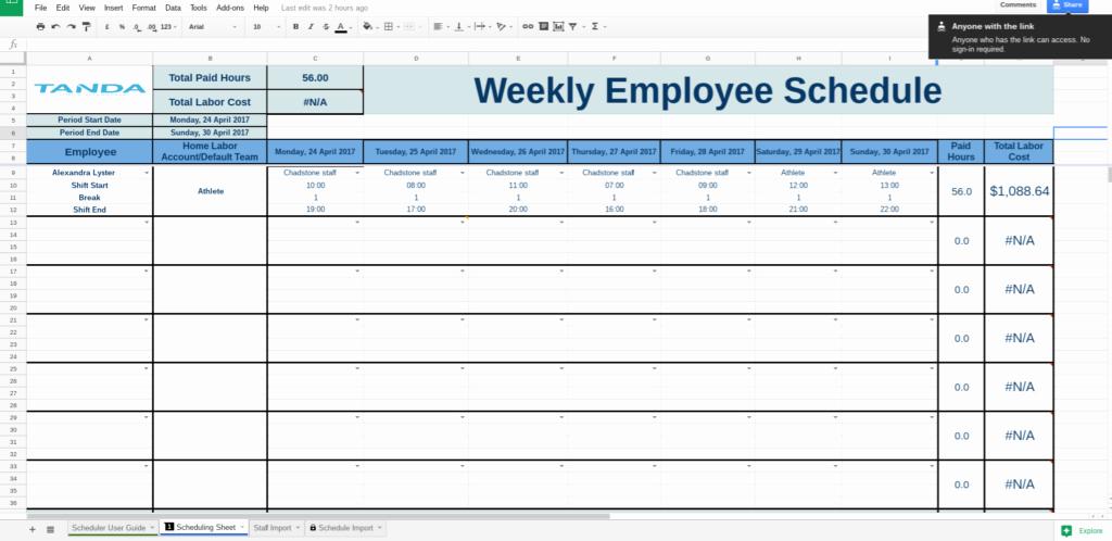 Schedule Template Google Sheets Beautiful Free Work Schedule Templates for Google Spreadsheets