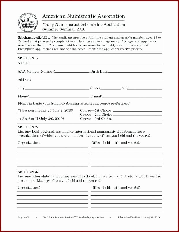 Scholarship Application Template Word Awesome organization Membership Application Template association