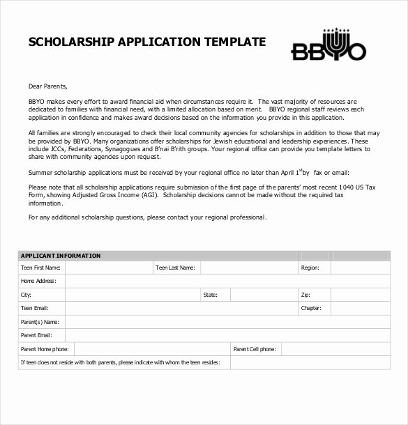 Scholarship Application Template Word Beautiful 15 Scholarship Application Templates – Free Sample