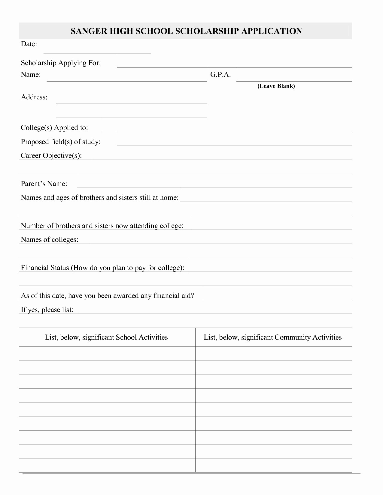 Scholarship Application Template Word Beautiful Best S Of Blank Application Template Blank Job